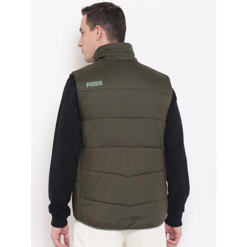 Puma Men Olive Green Ferrari Sweat Forest Night Padded Jacket