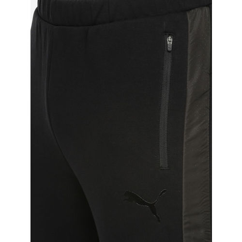 Puma Men Black Slim Fit Evostripe WR Solid Track Pants