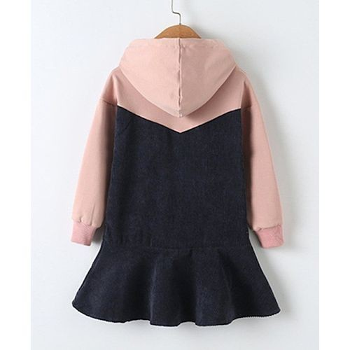 Awabox Pink Full Sleeve Hooded Dress With Printed Yoke