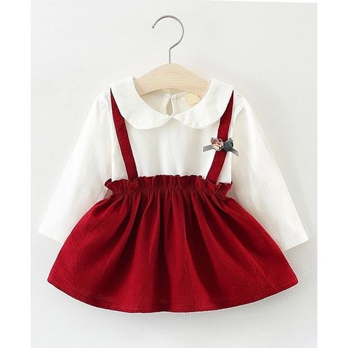 Lil Mantra Maroon Full Sleeves Dress With Bow Applique