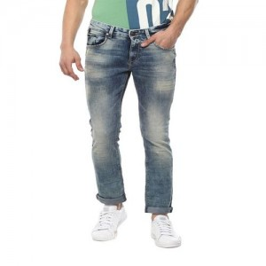 Spykar Blue Acid Washed Skinny Fit Low Rise Jeans