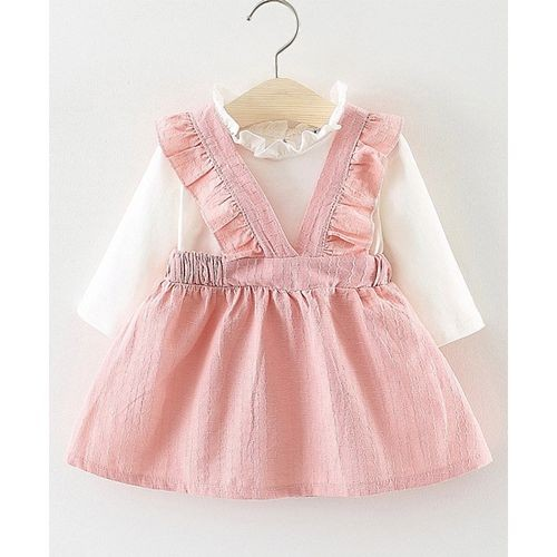 Lil Mantra Pink Frilled Shoulder Full Sleeves Dress