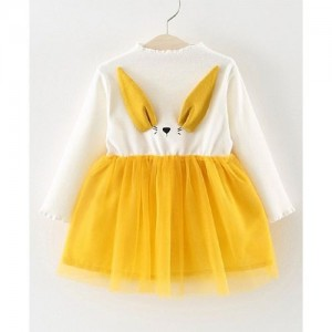 Lil Mantra Yellow Full Sleeves Animal Face & Ears Embellished Dress