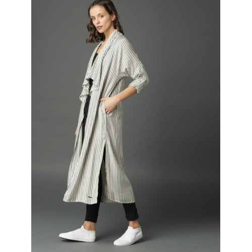 Roadster Off-White & Grey Striped Open Front Shrug