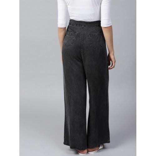 SASSAFRAS Women Charcoal Grey Solid Denim Parallel Trousers