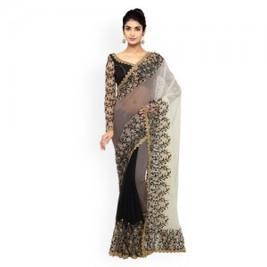 Triveni Black & Grey Chiffon & Net Embellished Saree