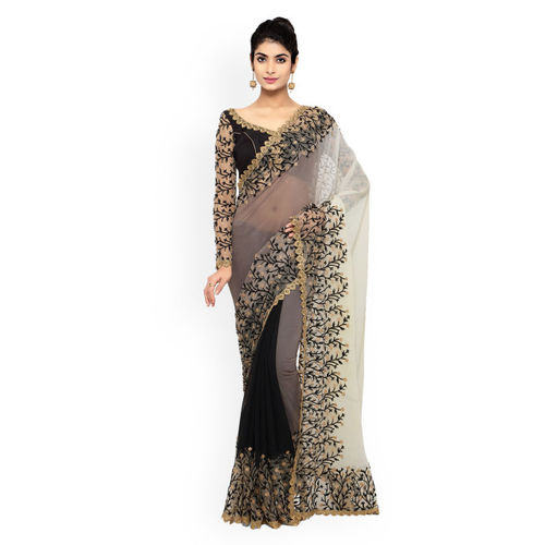 Triveni Black & Grey Chiffon & Net Embellished Saree
