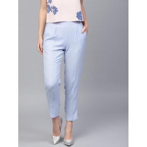 SASSAFRAS Women Blue Regular Fit Solid Cigarette Trousers