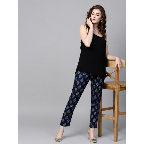 SASSAFRAS Navy Blue & Golden Tapered Fit Printed Trousers