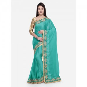 3c64791a9c4 Triveni Georgette Sea Green Party Wear Border Worked Contemporary