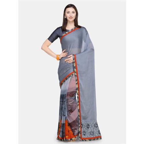 Triveni Grey & Red Poly Chiffon Printed Saree