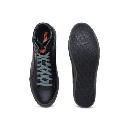 Puma Men Black Solid Grip Mid IDP Mid-Top Sneakers