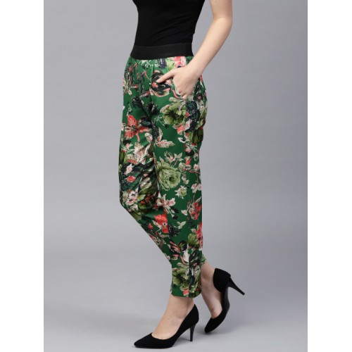 SASSAFRAS Women Green & Coral Pink Regular Fit Printed Cigarette Trousers