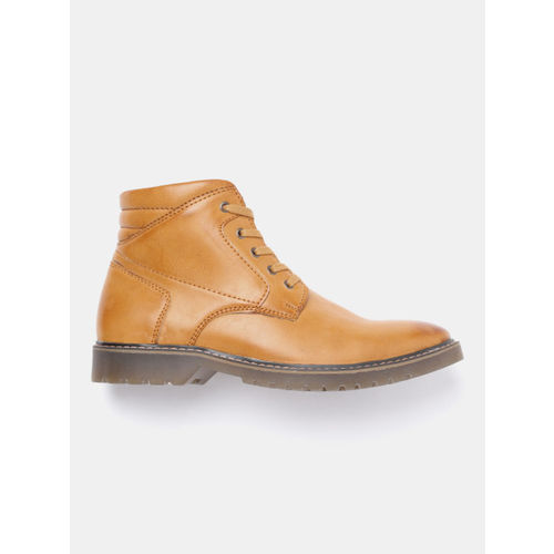 Roadster Men Tan Brown Solid Mid-Top Flat Boots