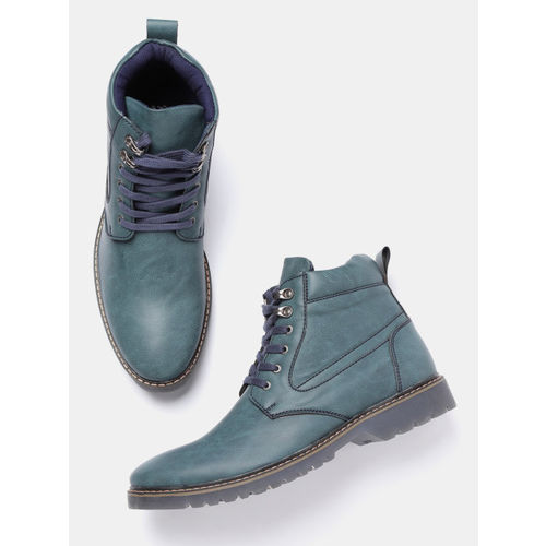 Roadster Men Teal Blue Solid Mid-Top Flat Boots