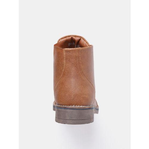 Roadster Men Tan Brown Solid Mid-Top Flat Boots
