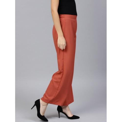 SASSAFRAS Women Rust Orange Loose Fit Solid Trousers