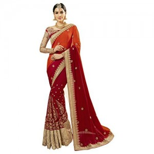 Triveni Women's Faux Georgette Embroidered saree_TSNCD1113