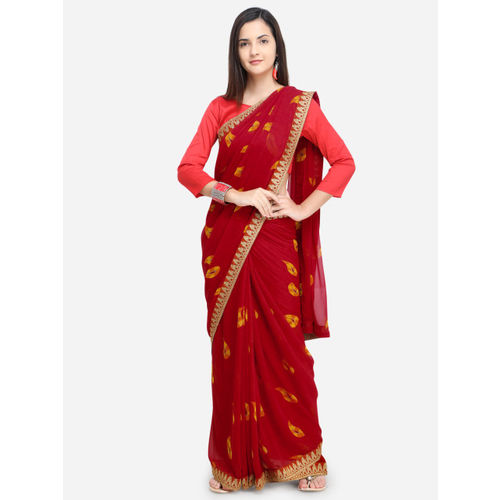 897bf1c7292 Buy Triveni Red Printed Poly Georgette Saree online