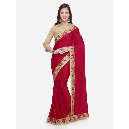 dc4a6db4185 Buy Triveni Red Solid Poly Georgette Saree online