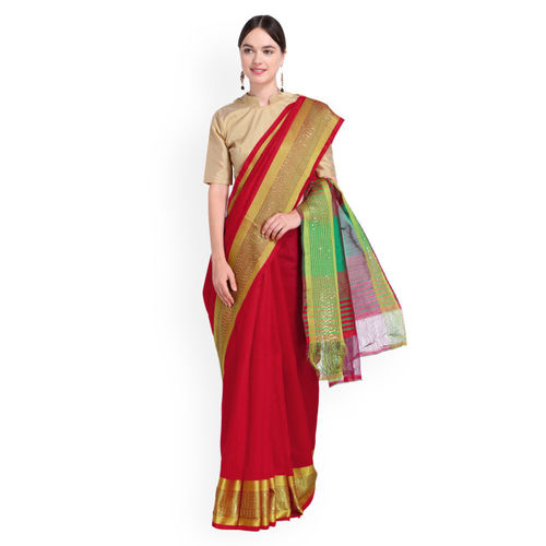 bae947796a5 Triveni Red Solid Saree  Triveni Red Solid Saree ...