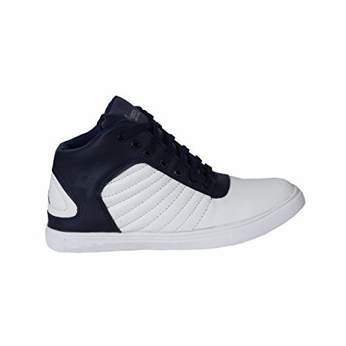 Shoebook Men's Stylish Synthetic Leather Black & White Lace-up Boot Sneaker Shoe