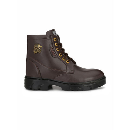 Eego Italy Men Brown Solid Synthetic High-Top Flat Boots
