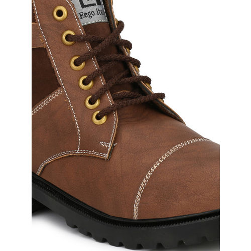 Eego Italy Men Brown Colourblocked Synthetic High-Top Flat Boots