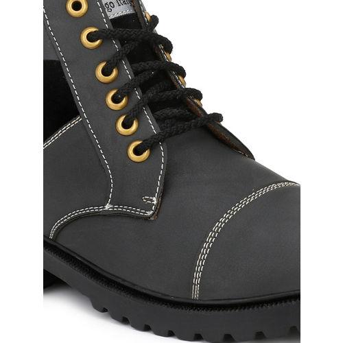 Eego Italy Men Black Colourblocked Synthetic High-Top Flat Boots