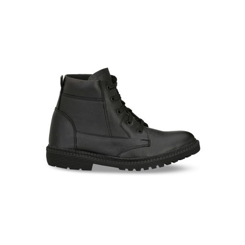 Mactree Men Black Solid Leather High-Top Flat Boots