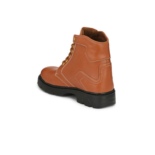 Eego Italy Men Tan Solid Synthetic High-Top Flat Boots