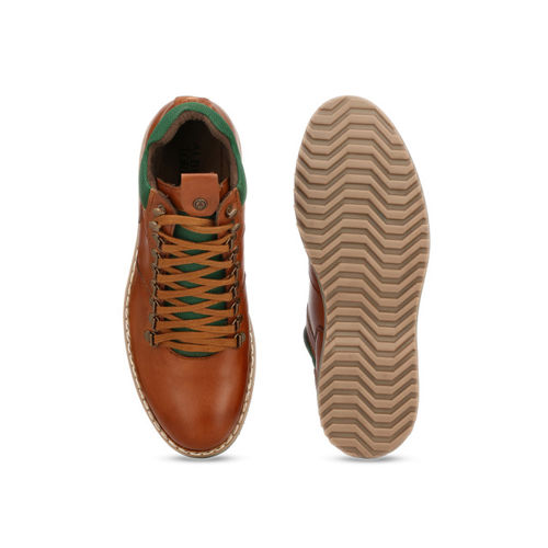 Alberto Torresi Men Tan Brown Solid Synthetic Mid-Top Flat Boots