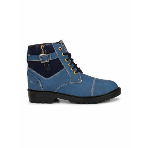 Eego Italy Men Blue Colourblocked Synthetic High-Top Flat Boots