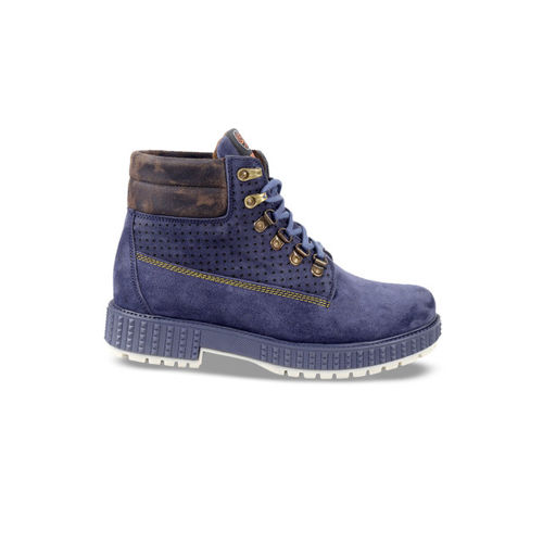 bacca bucci Men Blue Solid Suede High-Top Flat Boots