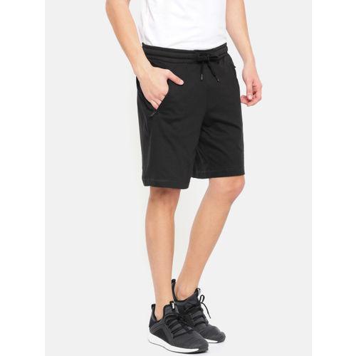 Puma Men Black Zippered Jersey Sports Shorts