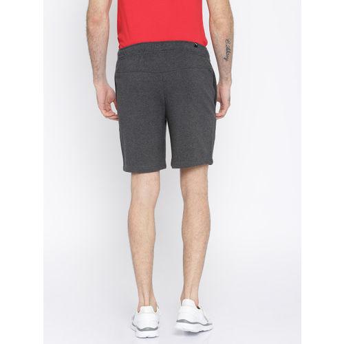 Puma Men Charcoal Grey Solid Zippered Terry Slim Fit Regular Shorts