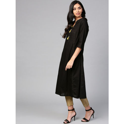 Shree Women Black Solid A-Line Kurta