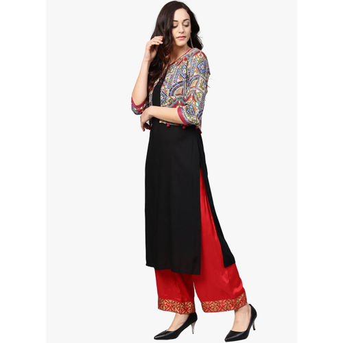Azira Black Printed Straight Kurta