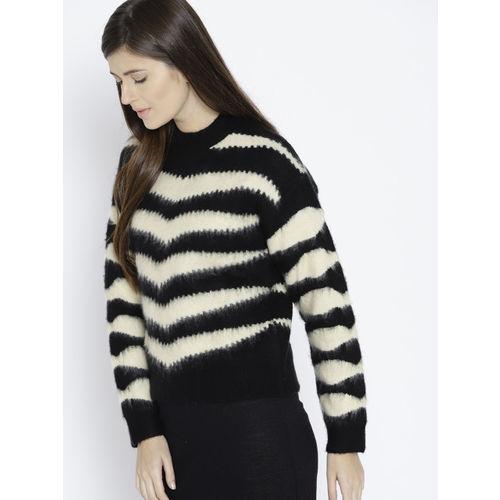 MANGO Women Black & Off-White Striped Pullover