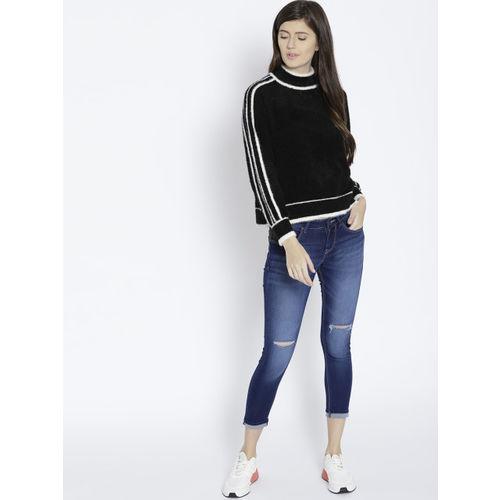 MANGO Women Black & White Solid Pullover