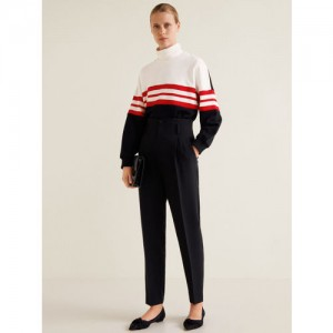 MANGO Women White & Black Colourblocked Sweatshirt