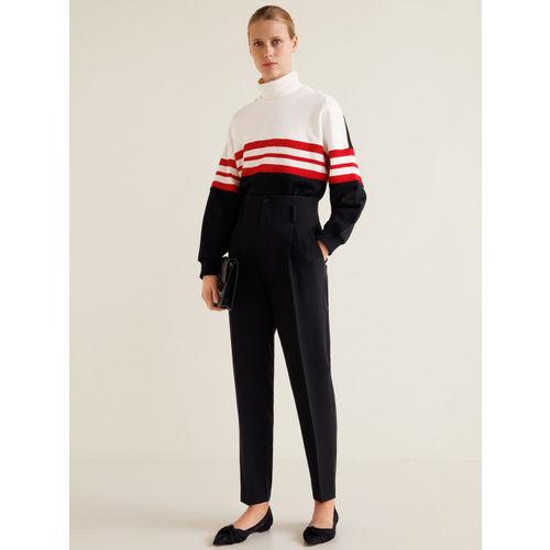 MANGO Women White & Black Colourblocked Sweatshirt