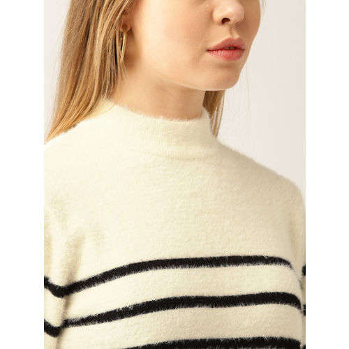 MANGO Women Off-White & Black Striped Fuzzy Pullover