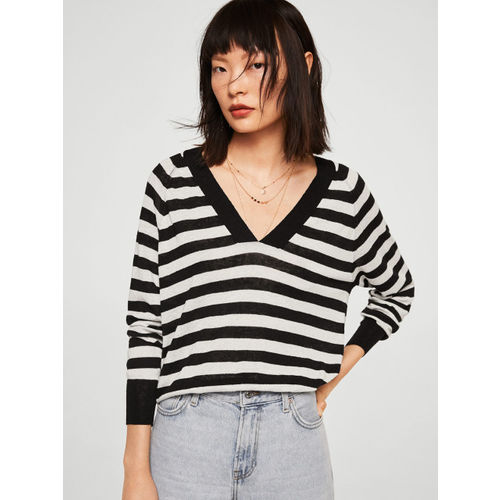 MANGO Women White & Black Striped Sweater