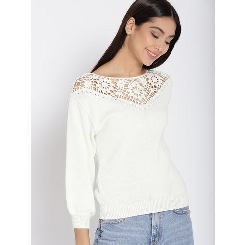 MANGO Women White Crochet Pullover