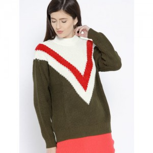 MANGO White & Olive Green Colourblocked Ribbed Pullover