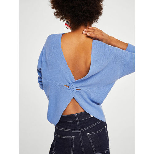 MANGO Women Blue Solid Styled Back Pullover