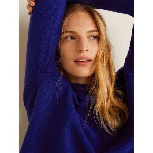 MANGO Women Blue Solid Pullover