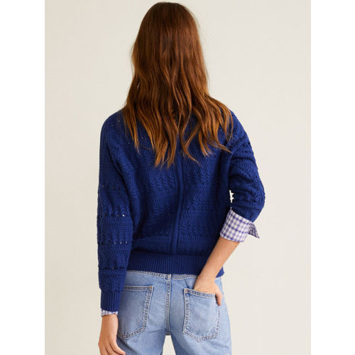 MANGO Women Navy Blue Solid Pullover