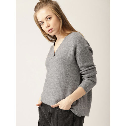 MANGO Women Grey Solid Pullover